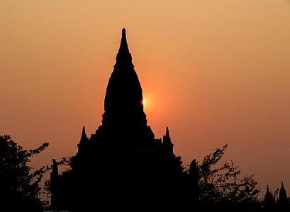 Burma, Myanmar, Asia, resor, turism, landskap, solnedgång