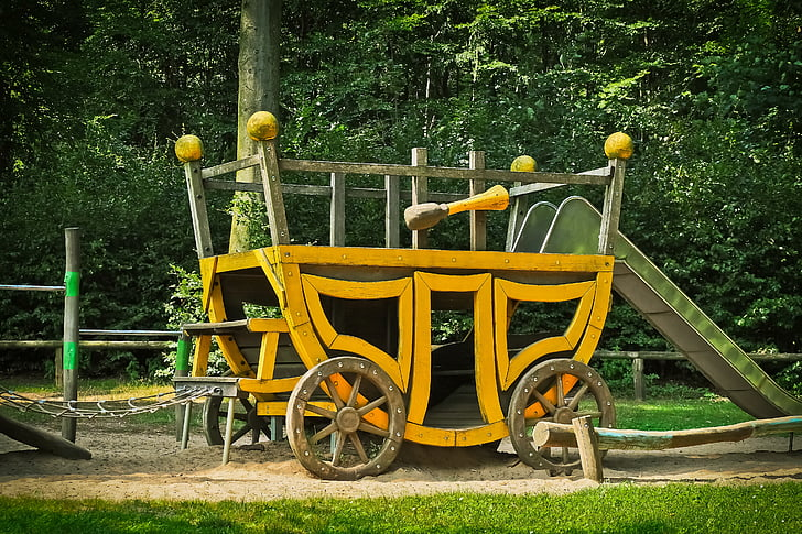 coach, playground, wood, play, children, game device, bar