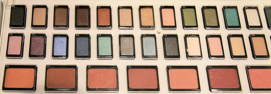 化妆, 颜色, 胭脂, 弥补, 化妆品, 美, 带红色