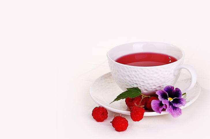 krigla, malina, bobica, čaj, piće, osvježenje, cvijeće