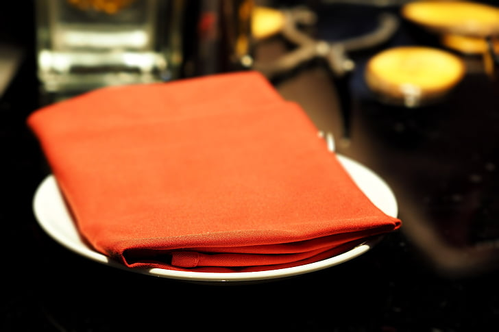 serviettes de table, serviette de toilette, rouge, table à manger, restaurant, manger