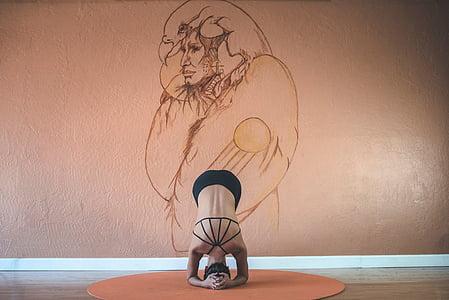 Kobieta, wykonywania, Joga, ćwiczenia, poza, Stretch, zdrowie