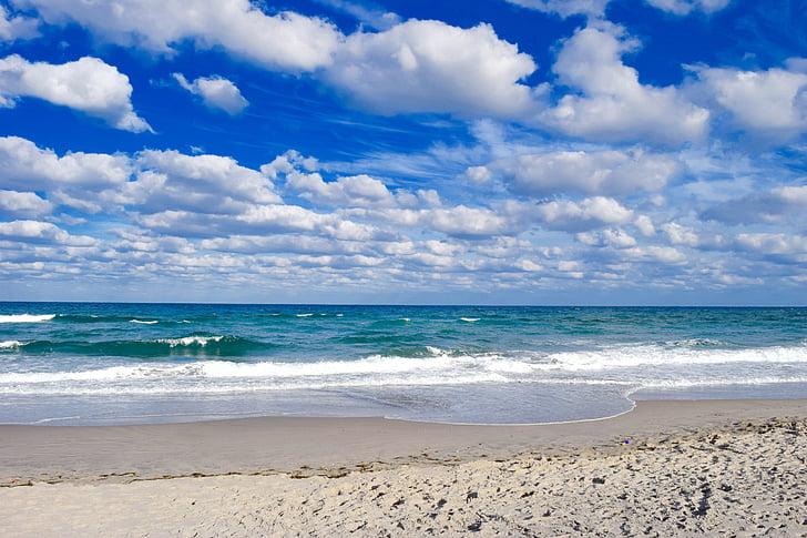 небо, облака, пляж, Голубое небо облака, облака небо, Облачно