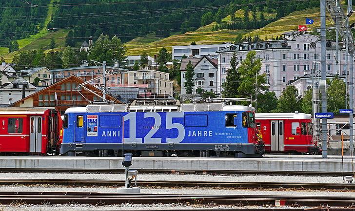 rhaetian railways, switzerland, anniversary, 125 years, jubiläumslok, railway station, samedan
