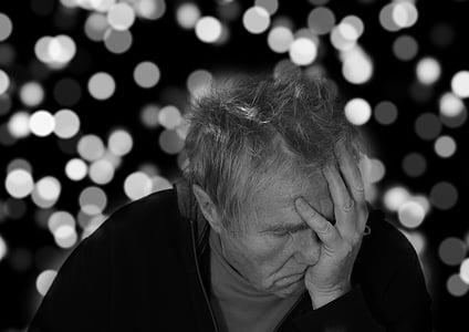 morbo di Alzheimer, uomo, Ritratto, viso, disperazione, demenza, orologio