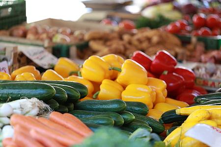 köögiviljad, segatud, küps, taimne, toidu, turu, värskuse