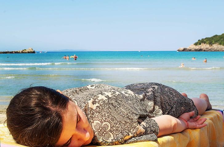 dona, dormint, gandula, relaxant, blau, Mar, marí