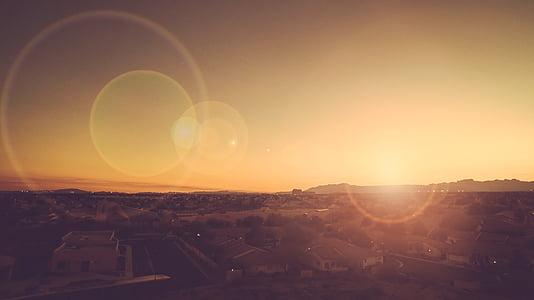 City, Lens põletatud, Sunrise, Sunset, Vaade, loodus, Sunrise - Koit