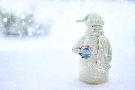 snowman, winter, snow, snowy, season, cold, cute
