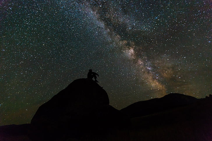 Via Làctia, roques, nit, paisatge, silueta, cel, estrelles