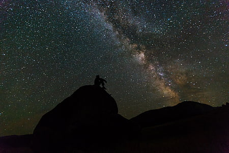 milky way, rocks, night, landscape, silhouette, sky, stars