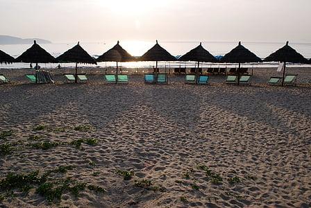 havet, kusten, stranden, i havet, Vietnam, på morgonen, Danang