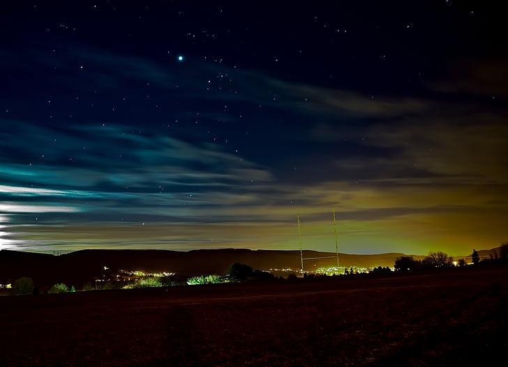stjerner, natt, lang eksponering, månen, blå, plass, atmosfære