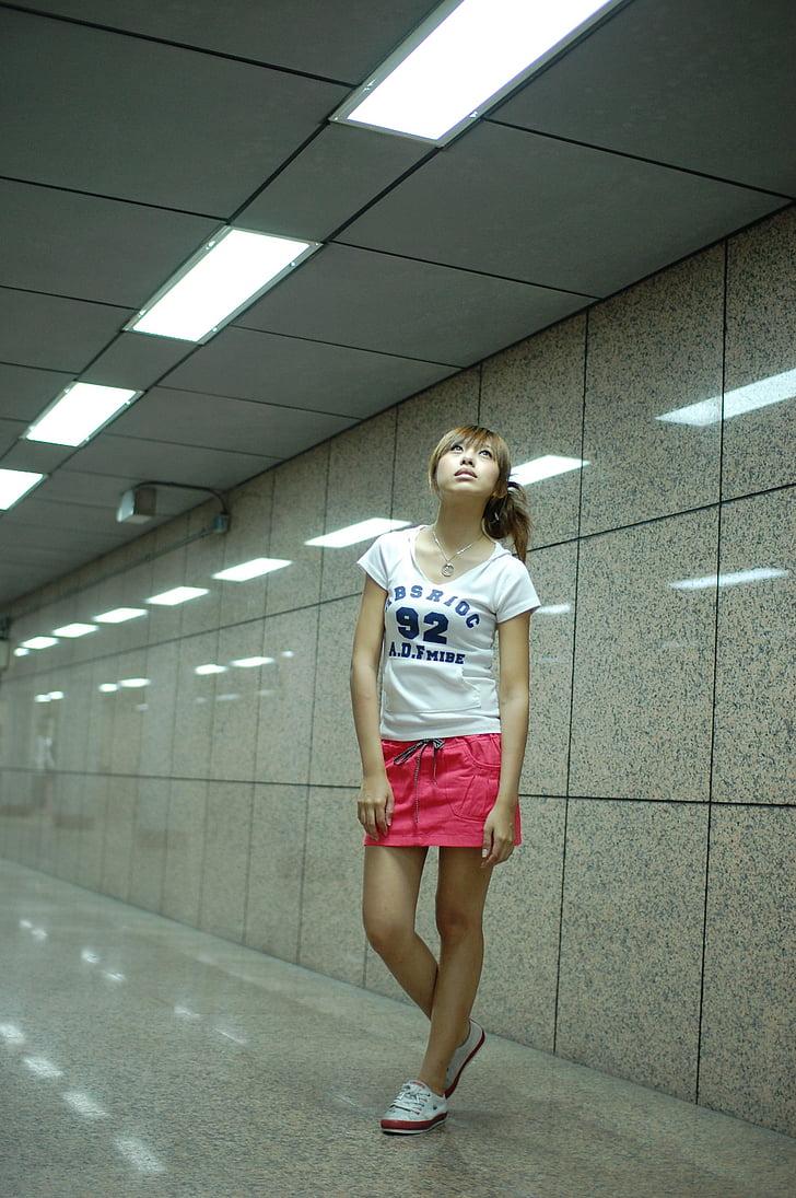 nenes, dones joves, Retrat, Àsia, model de, estàtues, dones