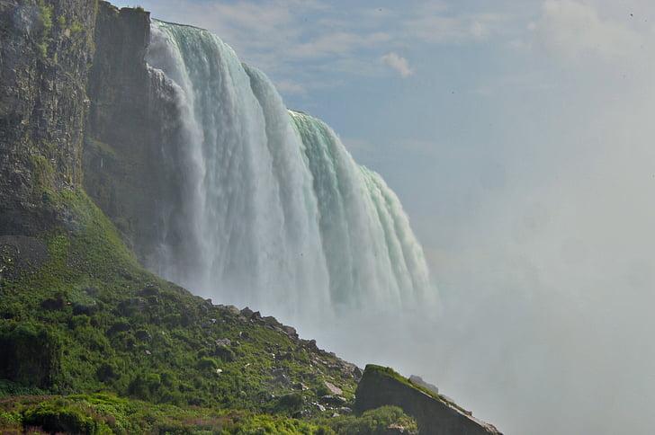 Niagara-vízesés, víz tömegek, spray, zörej, vízesés, habzó, víz