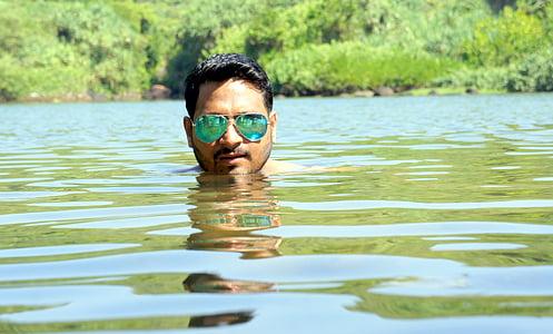 l'aigua, ulleres, sota, nedador, nedar, ulleres, estil