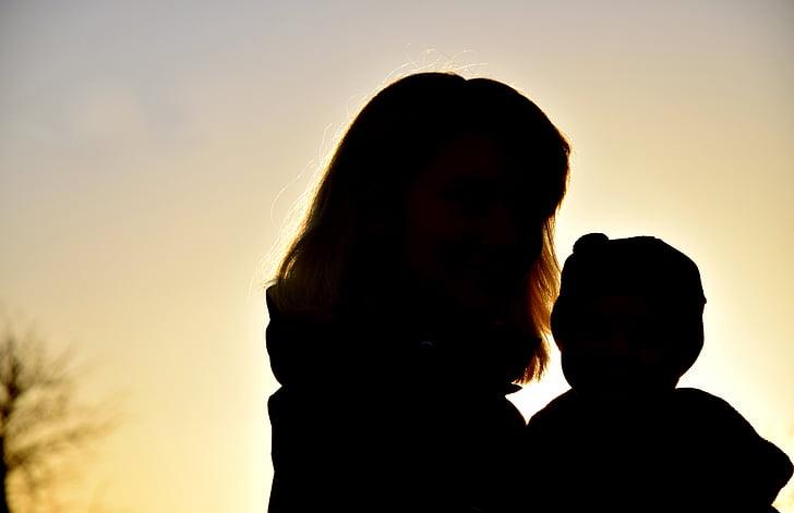 silueta, dona, nen, família, posta de sol, Unió, l'amor