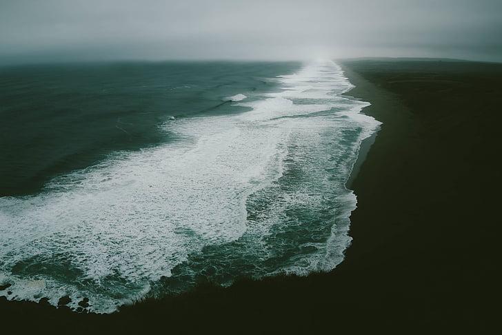 มุมมองทางอากาศ, คลื่นทะเล, ทางอากาศ, ทะเล, โอเชี่ยน, น้ำ, ชายฝั่ง