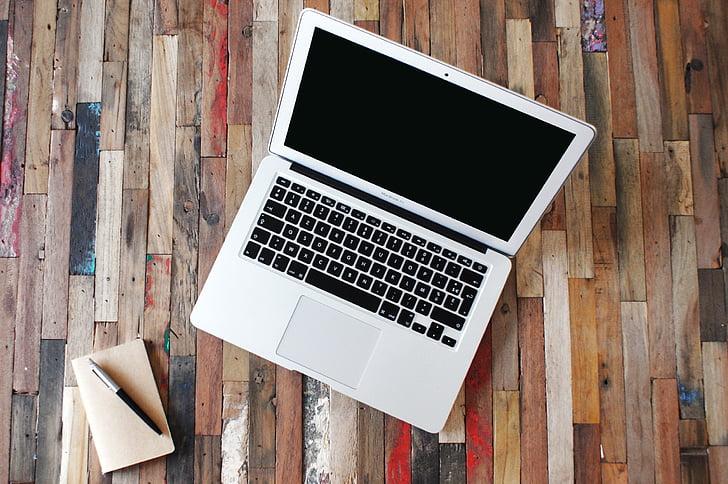 MacBook, Apple, vzduchu, Office, Práca, drevo, písmo