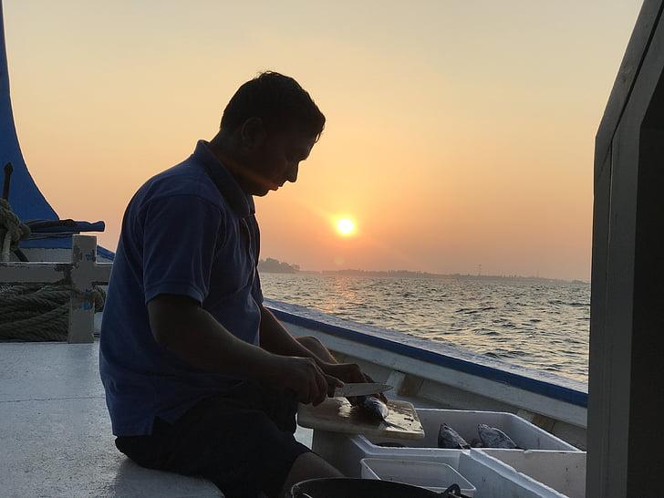rybár, západ slnka, Rybolov, vody, ryby, silueta, ľudia