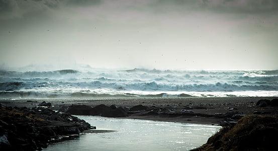 strand, Oceaan, buitenshuis, rotsen, zand, zee, zeegezicht