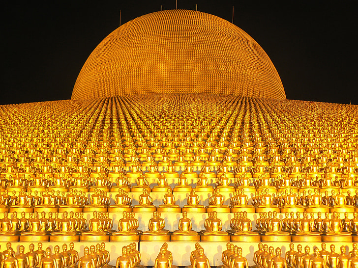 dhammakaya pagoda, mere end, millioner, Budhas, guld, buddhisme, Wat