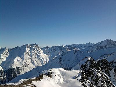 mountains, alpine, landscape, austria, snow, wintry, summit