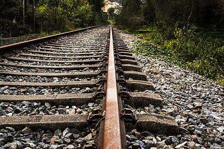 järnväg, järnväg, tåg, sliprar, via, järnvägsspår, transport