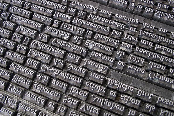 tipus de lletra, conjunt de plom, impressió del llibre, Gutenberg, lletres, conjunt de mà, sala de composició de tipus de lletra