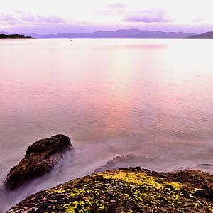 stranden, Dawn, skymning, Horisont, ön, landskap, Ocean