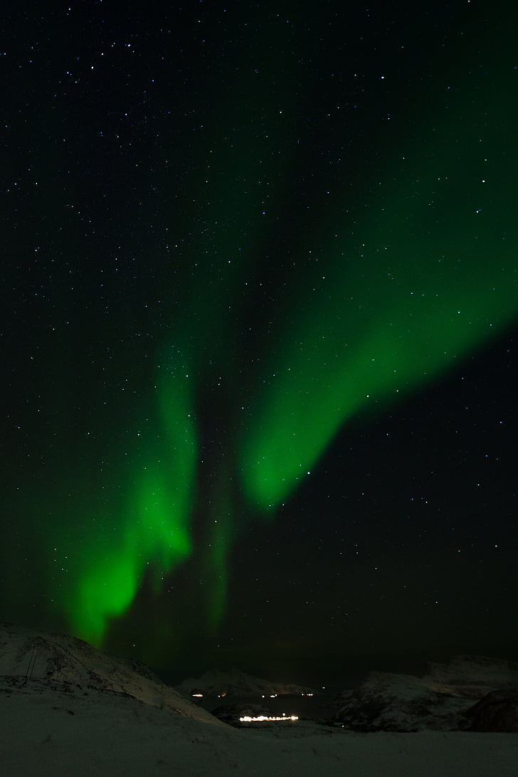 Aurora, nordlys, aurora borealis, Borealis, grøn, fænomen, Norge