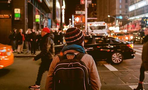 people, walking, city, urban, knapsack, pedestrians, traffic
