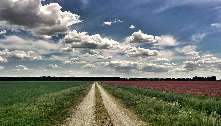 road, countryside, landscape, outdoor, nature, sky, clouds