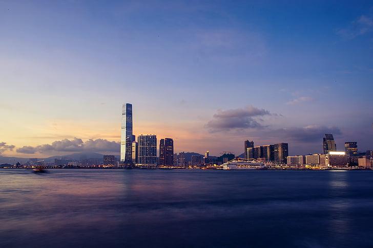 skyline, victoria harbour, hong kong, harbour, cityscape, landmark, urban