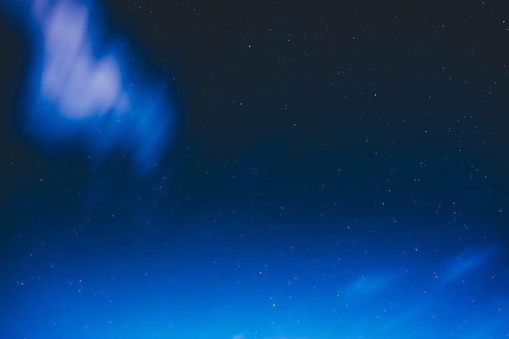 blå, mørk, natt, stjerner, stargazing, astrofotografering, bakgrunner