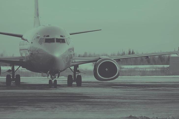 ПС, літак, крила літака, літак, Авіація, чорно-біла, політ
