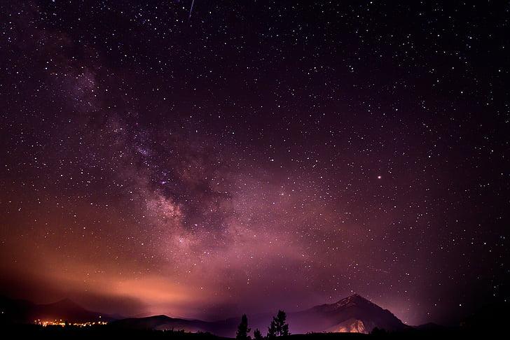 modo de exibição, estrelada, à noite, céu, natureza, nuvens, constelações
