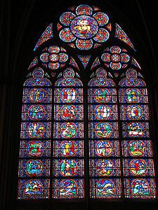finestra de l'església, Notre dam, vidrieres, Catedral, París, l'església, antiga finestra