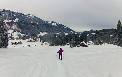snowshoe, snowshoeing, snow, mountains, winter hiking, hiking, cold