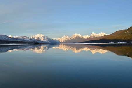 Lake mcdonald, landschap, Bergen, skyline, pieken, reflectie, water