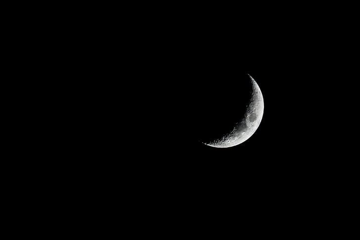 Kosák mesiaca, tmavé, mesiac, mesačný svit, noc, Astronómia, povrch mesiaca