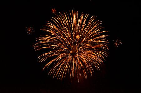 Láng, petárda, Fesztivál, ünnepe, éjszaka, felrobbant, tűzijáték