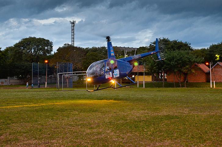 helicòpter, volant, l'aviació, Inici, aterratge, començant, avió