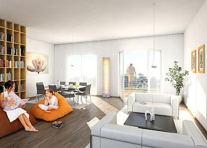 interior, Villa, renderització, Visualització, arquitectura, Visualització 3d, Visualització arquitectònica