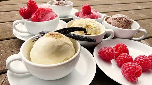 ice, ice cream, raspberries, vanilla pod, chocolate, vanilla, t