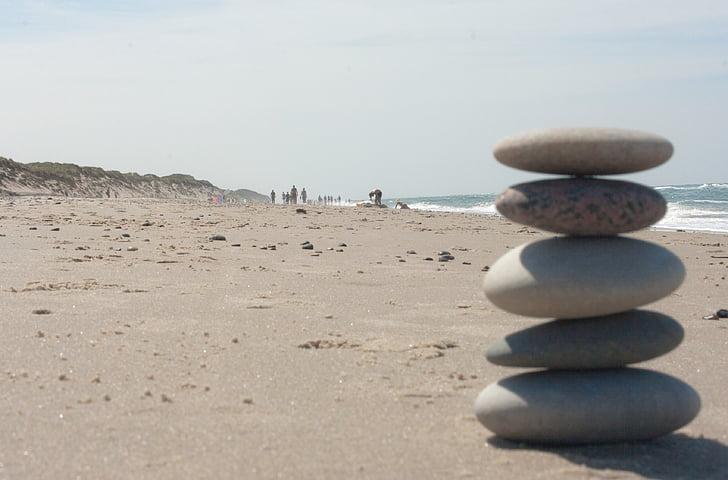 Bãi biển, Zen, đá, cân bằng, ngăn xếp, thư giãn, hành thiền