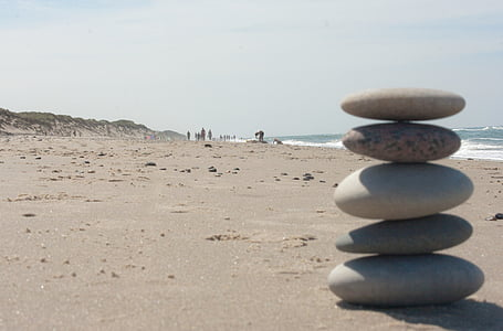 beach, zen, stones, balance, stack, relaxation, meditate