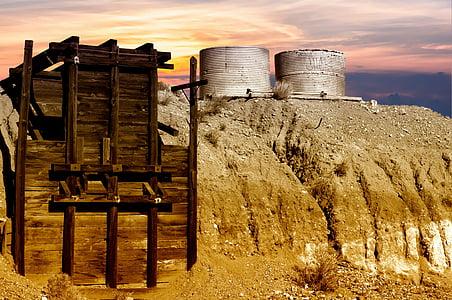 guldgruva, öken, gruvdrift, övergiven, maskiner, källare, jordbruk