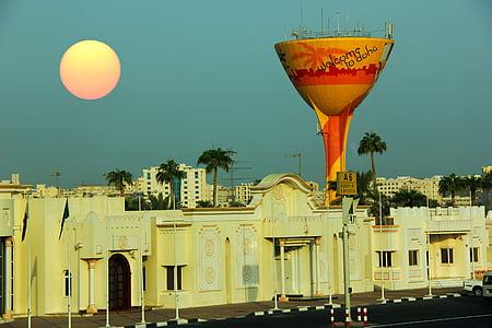 Doha, Mellanöstern, solen, hus, blå himmel, staden, öster
