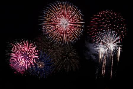 tűzijáték, Sky, fél, Szilveszter, rakéta, pirotechnika, ünnepe